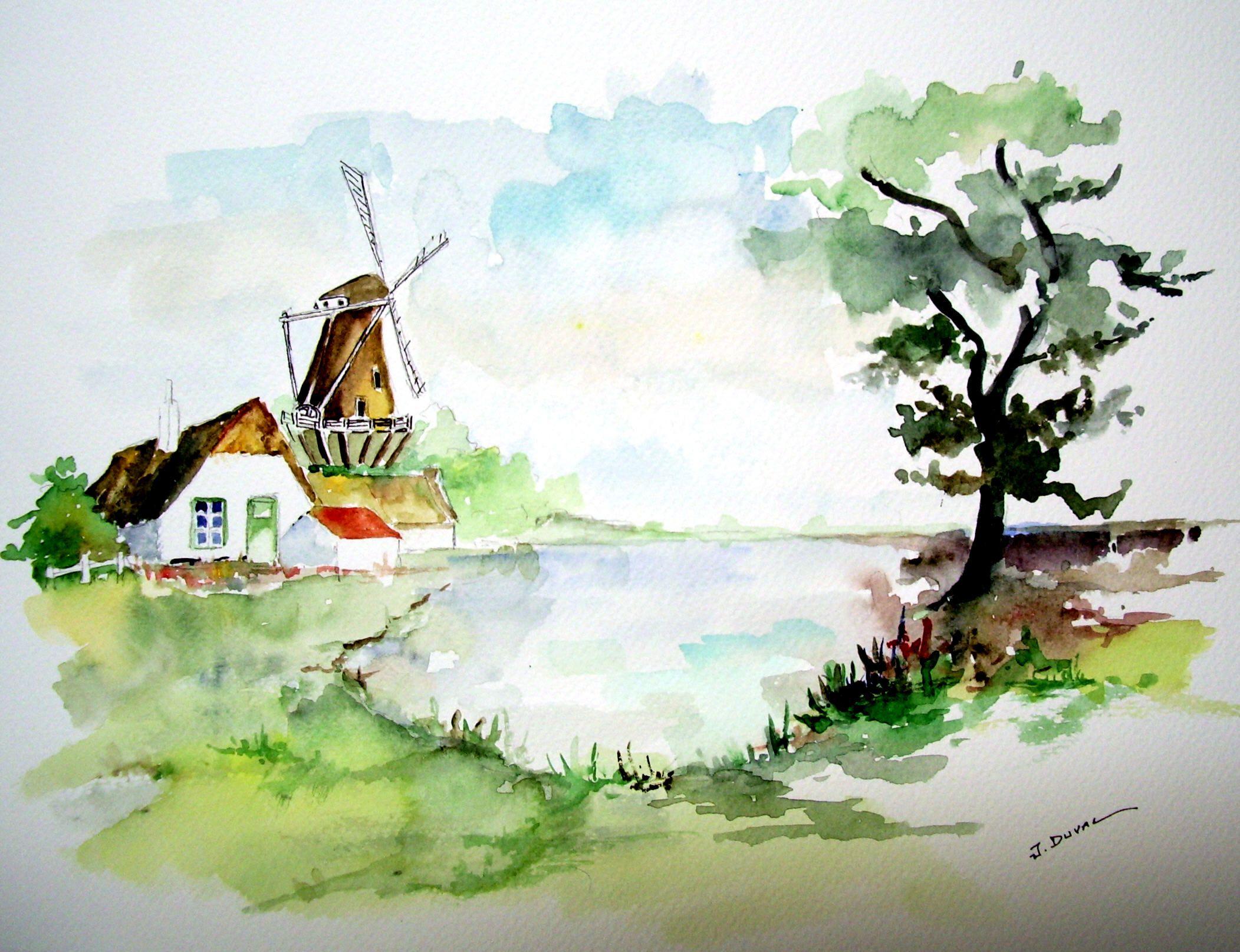 Pin paysage facile a dessiner pelautscom on pinterest - Paysage peinture facile ...
